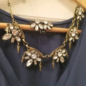 Statement necklace & earring set, brass and jewels